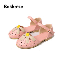 Bakkotie 2017 New Fashion Summer Sweet Baby Kid Brand All-match Comfort Child Pink Cute Girl Sandals Black White Shoe Flowers