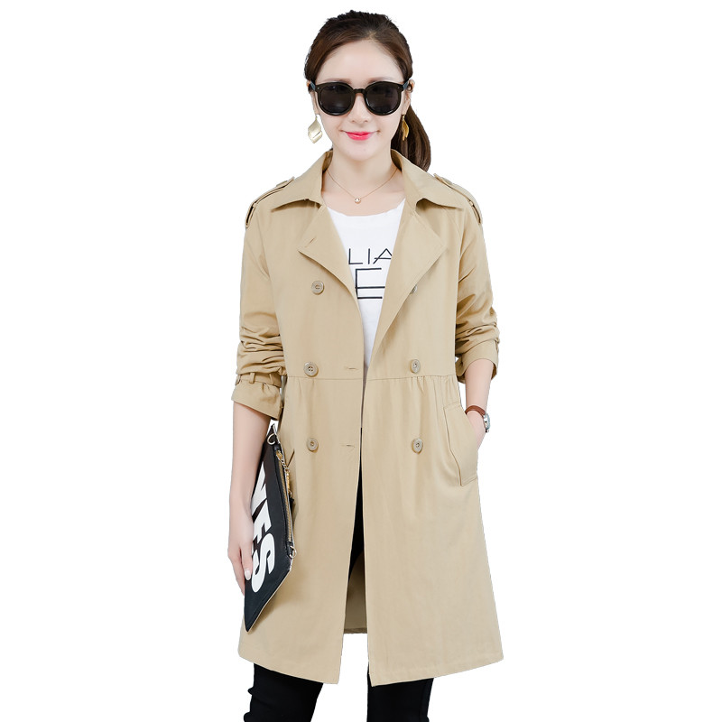 2019 New Autumn Fashion Double Breasted Mid-long   Trench   Coat Women Khaki Slim Windbreaker Female Casual Business Outerwear R68