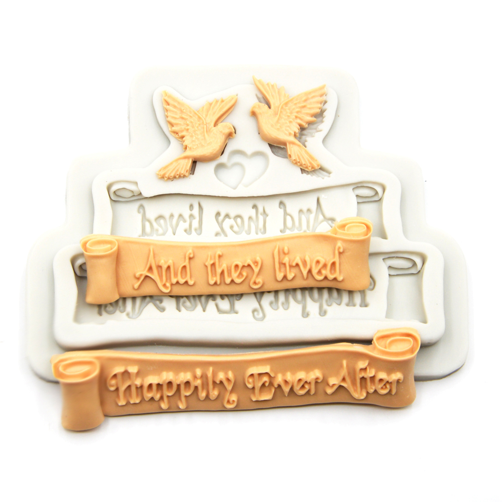 Happily Ever After Letters Cake Silicone Mold And They Lived Letters Chocolate Candy Cookies Silicone Mould image