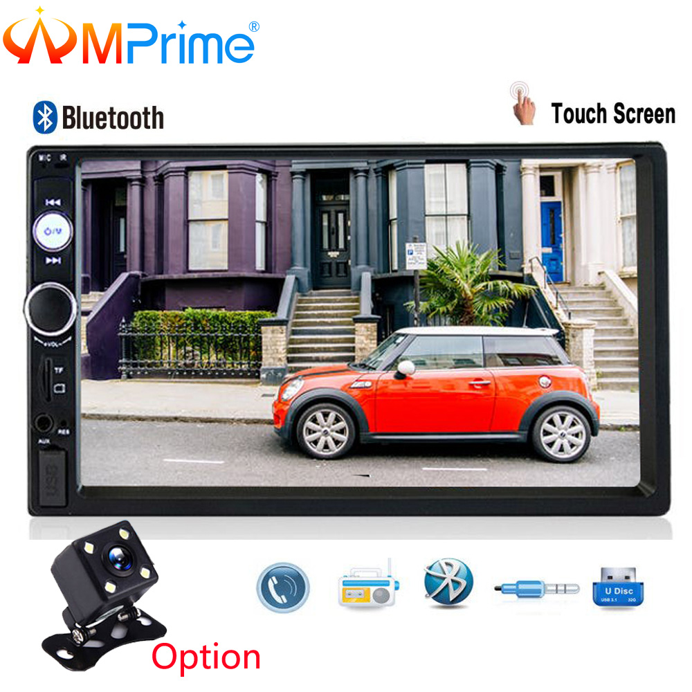 AMPrime 2 din Car Radio 7 HD Player MP5 Touch Screen SD/FM/MP4/USB/AUX Bluetooth Multimedia USB Autoradio Car Backup Monitor leshp 7001 hd 1080p touch screen with am rds music movie player bluetooth car radio video mp5 player autoradio fm aux usb sd