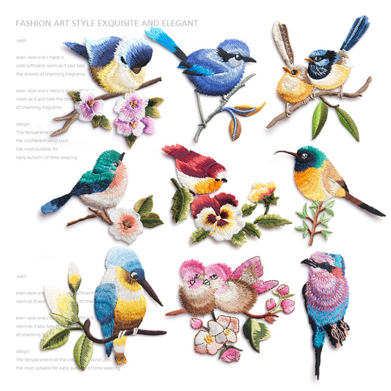 Cute fashion bird embroidery flower sticky cloth paste clothing patch hole DIY accessories iron-on bird patch