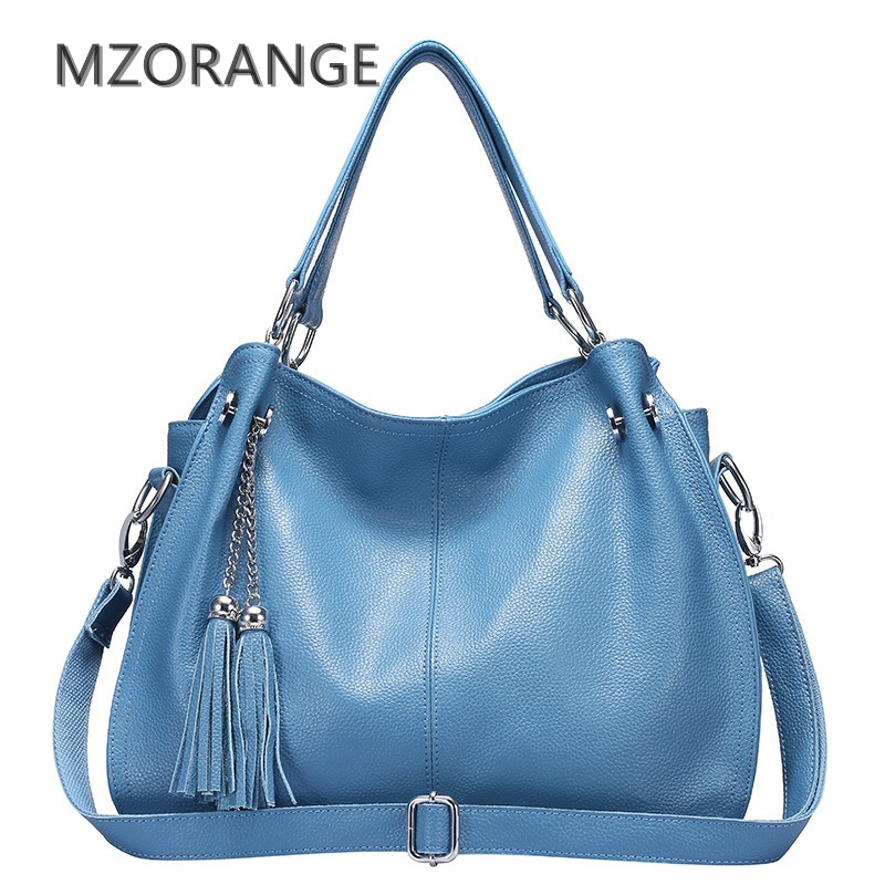 MZORANGE 100% Genuine Leather HandBag 2017Fasion Brand Tassel women Tote shoulder bag High Quality Cowhide Casual Lady Hobos Bag  kevti brand genuine leather women handbag high quality cowhide female shoulder bags casual crossybody bag european style hobos