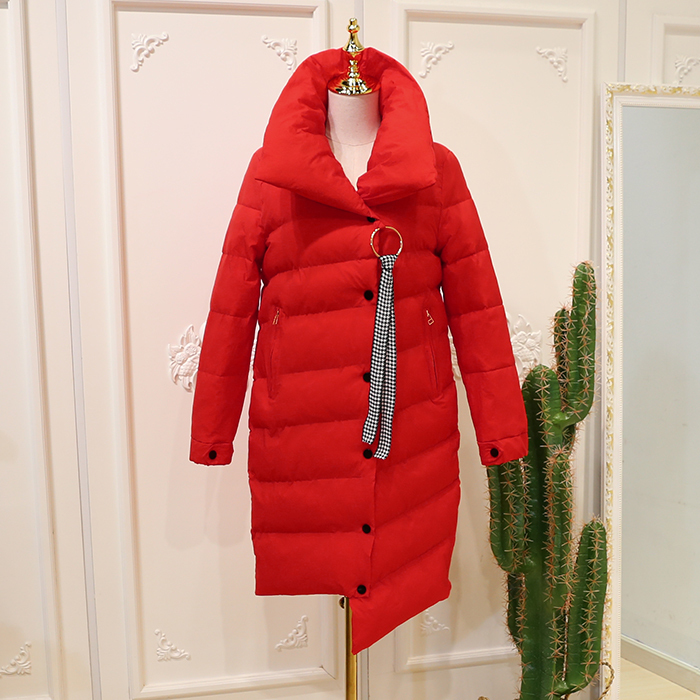Women Winter Coat 2018 Female New Winter Cloth Irregular Square Collar Long Sleeve Cotton Coat(W53).