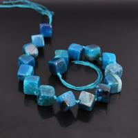 Approx17PCS/strand Blue Rhombus Nugget Dragon Veins Agates Beads,Raw Onxy Gems Square Shape Pendants Necklaces Crafts Jewelry