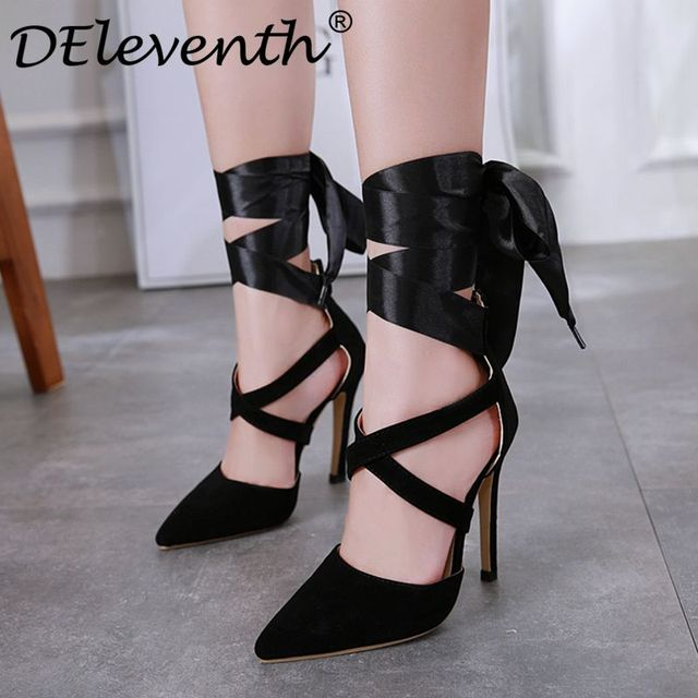 ae34ccf3e11d DEleventh new fashion women s shoes stilettos high heels pumps sandals sexy  pointy toe lace up gladiator thin heel lady shoes 40US  23.99