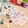 Niños Adultos de Viaje Portátil Mini Caja Redonda 7 Slot Píldora Salud Caso Medicina Drogas Organizador de la Venta Caliente
