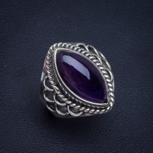 Natural Amethyst Handmade Unique 925 Sterling Silver Ring 7.5 B1042 natural pink opal handmade unique 925 sterling silver ring 6 25 y4391