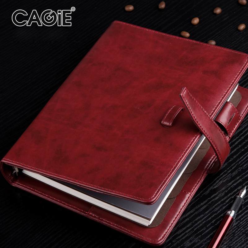 CAGIE Business A5 Spiral Notebook Filofax Vintage Binder Office Paper Organizer Notepad Planner Creative Leather Notebook a5 retro scrub leather notebook filofax business notebook personal creative notebook office portable stationery supplies