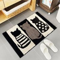 2 Sizes Bath Mat For Bathroom Toilet Bathtub Wash Basin Cute Cat Pattern Rug For Door