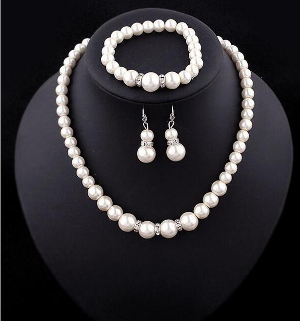 classic wedding bride jewelry imitation pearl clear crystal elegant costume necklace earrings bracelet jewelry sets