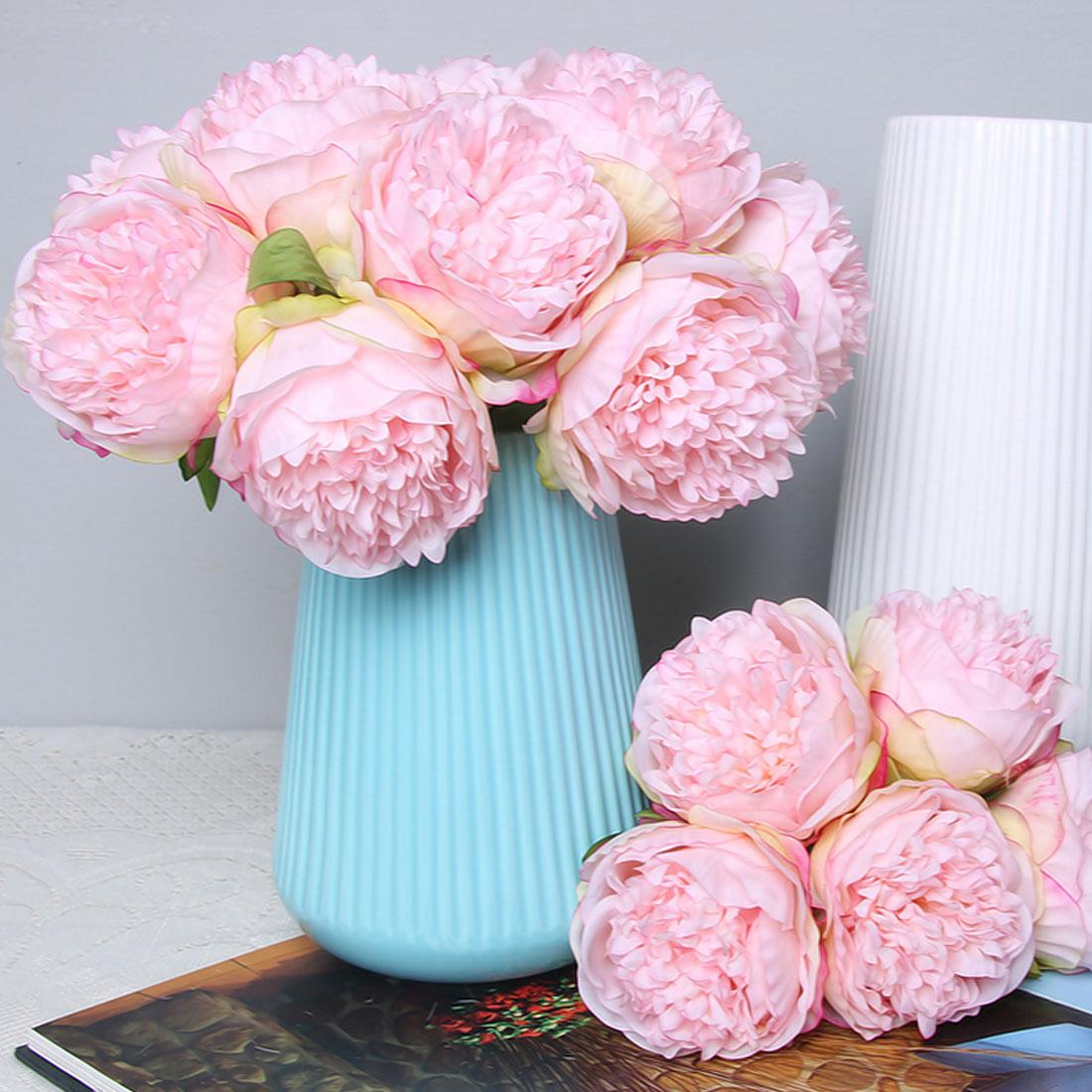 Artificial Flowers Peony 5 Heads Silk Flower Wedding Party Bouquet ...
