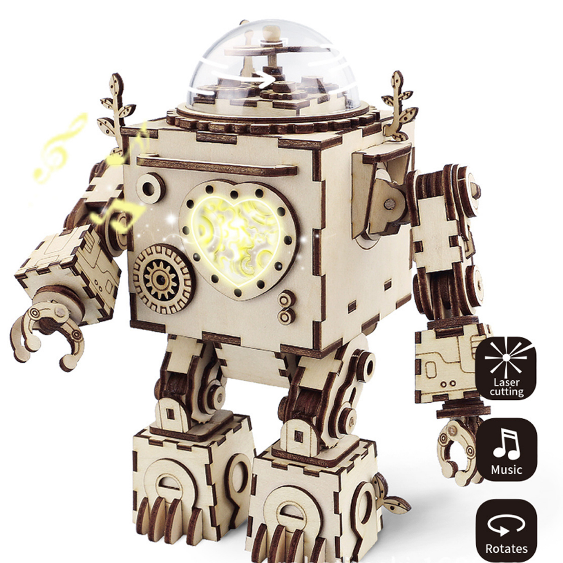 Robot Model Wooden Gear DIY 3D Puzzle Steampunk Music Box for Patience Hands on Ability Development Toys Gift for Kids