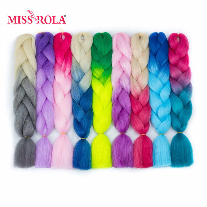 Miss Rola Ombre Synthetic Jumbo Braiding Hair 24inch High Temperature Fiber Crochet Jumbo Braids 100g Rainbow Ombre Tone Color