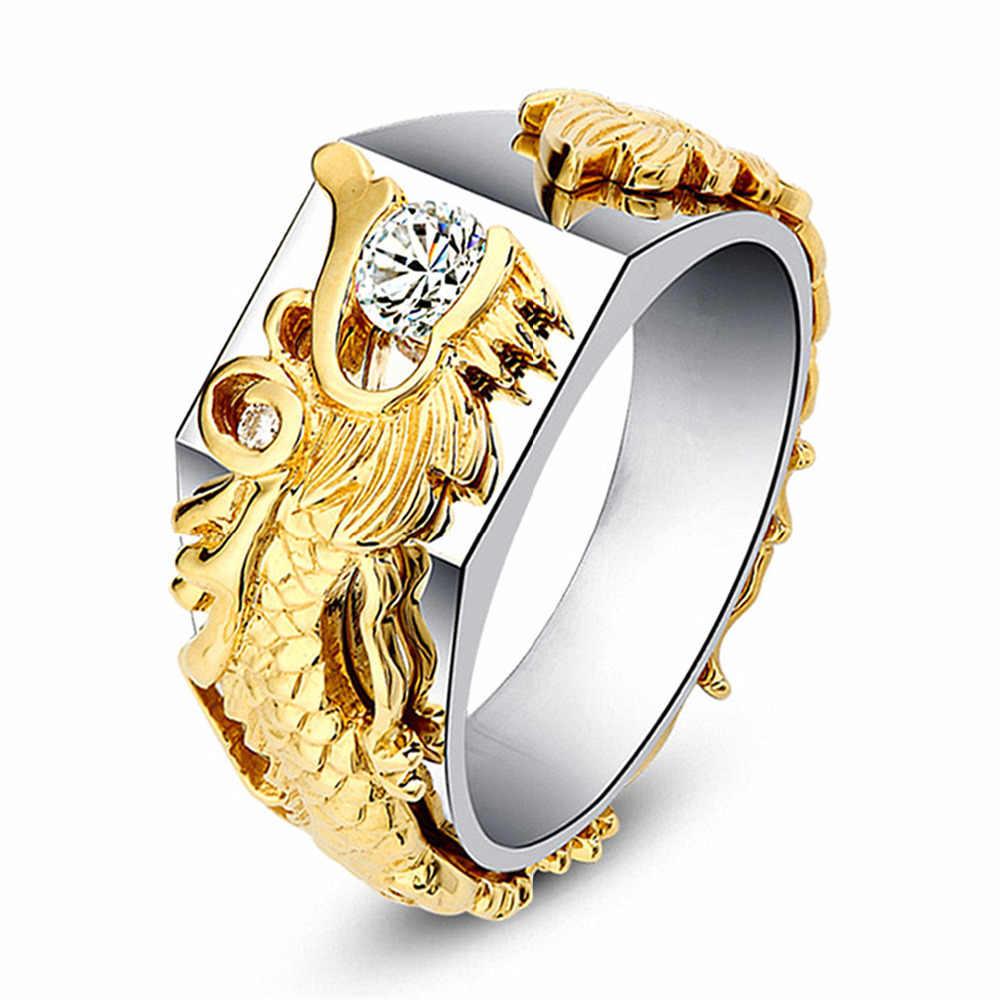 Gold Dragon Men Ring Signet Seal Male Ring Silver Classic Women
