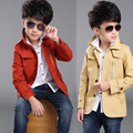 HOT 2016 Spring new boy sport leisure coat  children's trench  khaki leisure fashion clothes for 12-13 age boys   kids solid