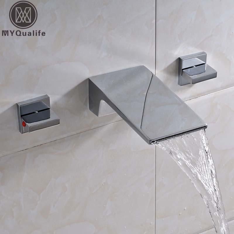 €55.83 42% de réduction Nouvellement cascade Long bec salle de bain  baignoire évier robinet mural double poignée lavabo WC mitigeur robinets  Chrome ...