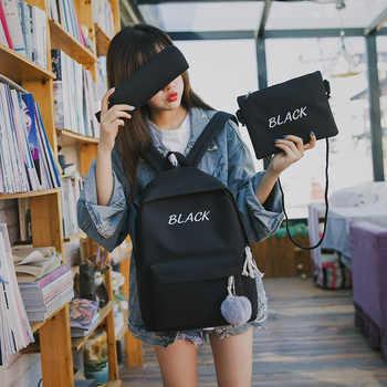 Canvas Backpack Female 3 Pcs/set Women School Backpacks Ladies Black Pink Back bags for Teenagers Girls Casual Student Satchel