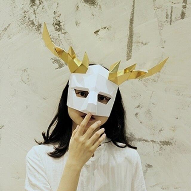 Elk Helmet Masquerade Mask DIY Paper Handmade Craft Decoration Awesome Decorate Masquerade Mask