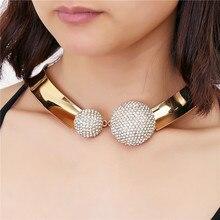 De lujo Nuevas Mujeres Crystal Rhinestone Del Embutido de Dos hemisferios Collares Del Ahogador Del Collar de Oro Joyería de Cumpleaños de La Boda