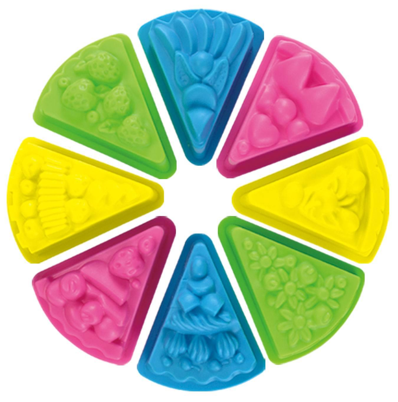 8 Piece Cake Toy Set Power Play Sand Mold Plastic Colorful Beach Toys For Children Kids Cake Mold Summer Water Gift