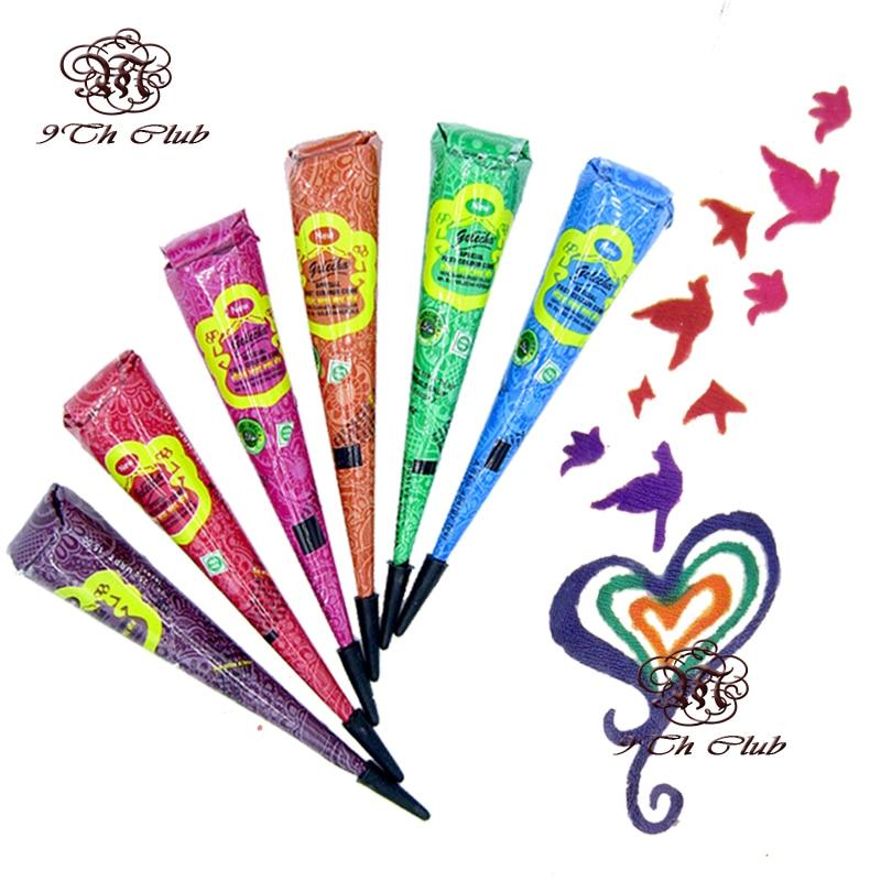 6pcs Colored Golecha Henna Tattoo Paste Cream Cones Indian Mehndi 6