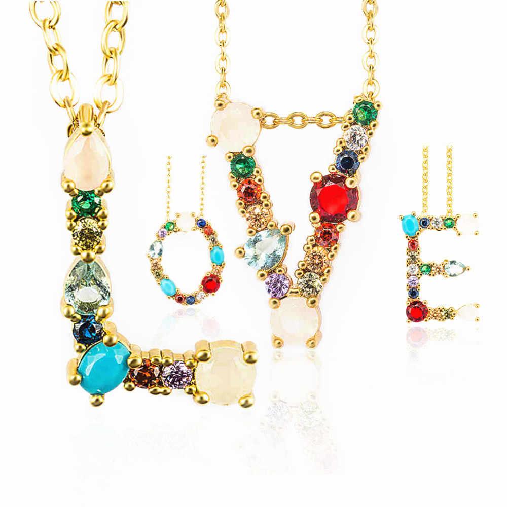 2019 זהב צבע ראשוני צבעים CZ שרשרת אישית מכתב שרשרת שם תכשיטי לנשים אביזרי מתנת חברה