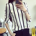 Sexy Manga Larga de Gasa Tops Womens Casual Loose Camisa A Rayas Blusa Caliente de La Venta