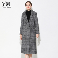 YuooMuoo New Long Women Coat Brand Design Plaid Casual Jacket Autumn Wool Black Coat European Fashion