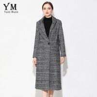 YuooMuoo New Long Women Coat Brand Design Plaid Casual Jacket Autumn Wool Black Coat European Fashion