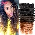 7А Ombre Бразильские Вьющиеся Волосы 4 Пучки Три Тона Бразильский Виргинский Наращивание волос Ombre Человеческих Волос Кудрявый Вьющиеся Weave 1b 4 27