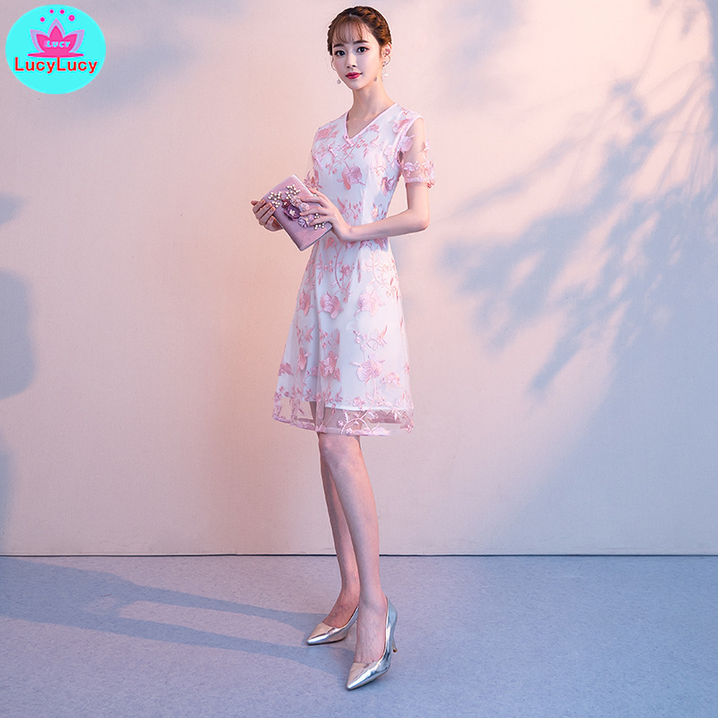 2019 new summer Chinese style mesh improved cheongsam short fashion slim sleeveless embroidered dress