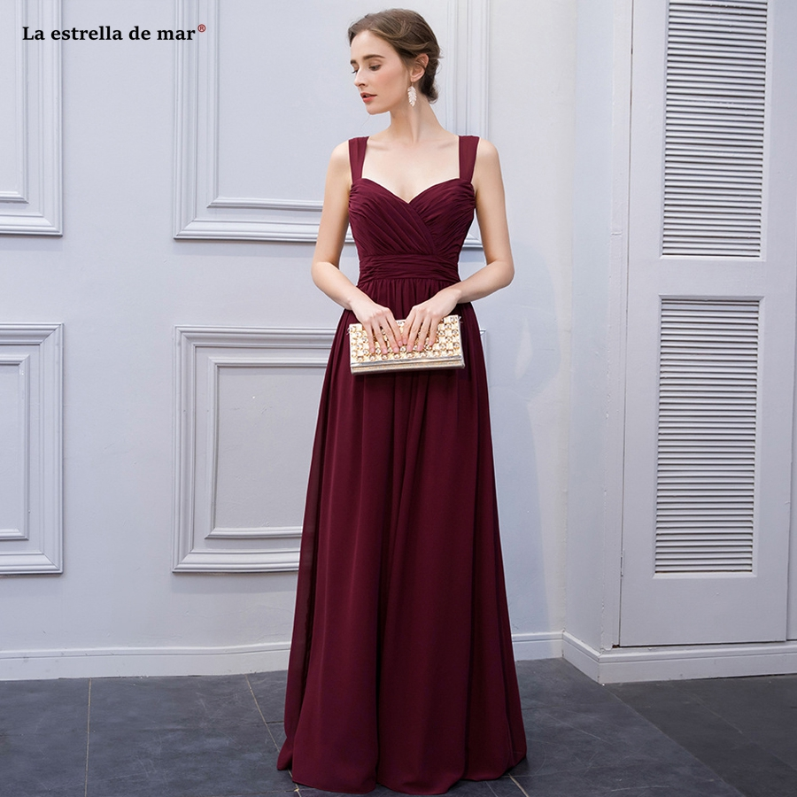 La estrella de mar gaun pesta dewasa new sexy V-neck chiffon back A line burgundy   bridesmaid     dresses   long cheap gaun pesta dewas