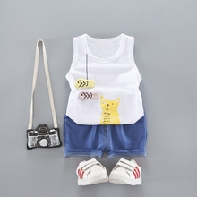 Summer Baby Boys Sleeveless Cute Cat Tank Vest Tops + Denim Shorts Kids Sets Infant Girls Casual Sport Tracksuits 2Pcs Suits