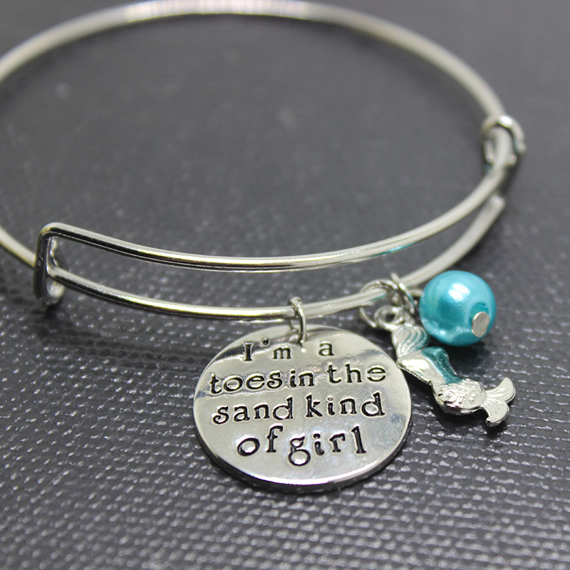 NEW fashion Little mermaidbracelet I am a toes in the sand kind of girl Wire Bracelet Bangle Women or Girls Gift Jewelry