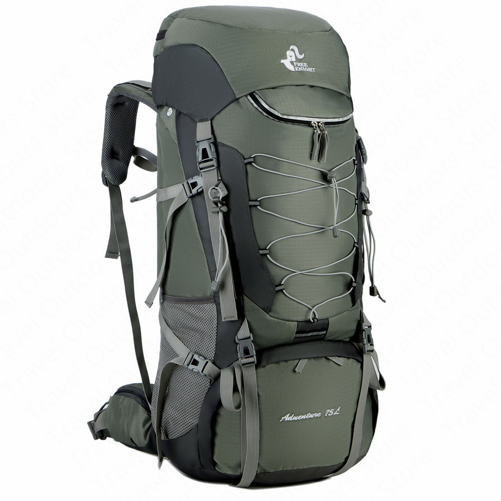 75L Outdoor Hiking Backpack Rucksack Aluminium Alloy External Frame Sports Backpack Nylon Waterproof Travel Backpack