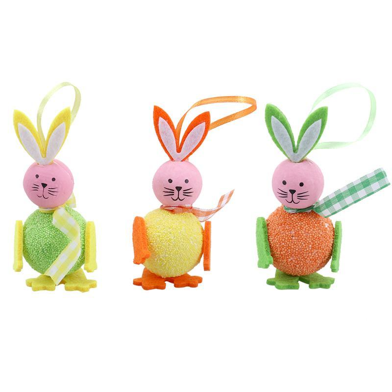3PCS Cute Foam Rabbit Easter Hanging Decoration Ornaments Kids Gifts Crafts For Easter Home Party Decor( Ramdon Color)