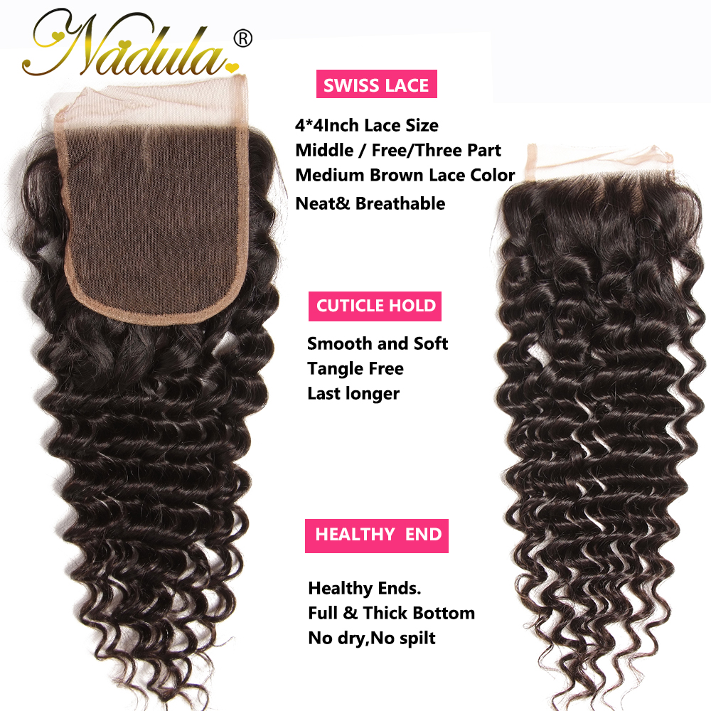 Nadula Hair With Closure Deep Wave  With Lace Closure 100%  Bundles With Closure Natural Color  Hair 5