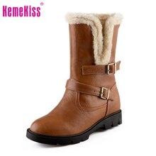 ขนาด34-39ผู้หญิงส้นสูงกลางลูกวัวบู๊ทส์สองวิธีในช่วงฤดูหนาวที่อบอุ่นBotasหิมะครึ่งสั้นบูตนักรบรองเท้ารองเท้า
