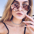 Rose Gold Reflective Women Sunglasses Retro Classic Round Sunglasses For Womens brand Designer Sunglass UV400 Rays Lady Shades