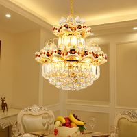European Golden LED luster chandeliers Modern crystal LED living room restaurant simple chandelier Light fixture