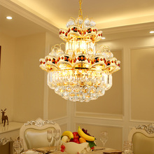 European Golden LED luster chandeliers Modern crystal living room restaurant simple chandelier Light fixture