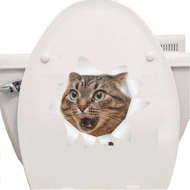 New 3D Cat Wall Sticker Toilet Sticker Hole View Vivid Living Room Home Decor Decal Cat Wall Sticker Cute Cat