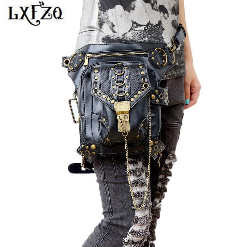 öv Steam punk zsákok Belly band motorkerékpár láb táska a tokhoz telefonhoz Deréktáskák divat Banankat táska női övhez Thighbags