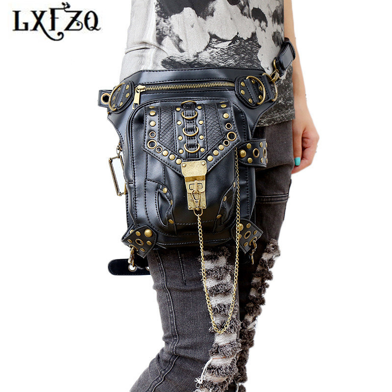 jostas Steam punk somas Belly band motociklu kāju soma telefonam Waist Somas modes Banankat soma sieviešu jostām Thighbags