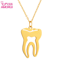 AMORUI Fashion Body Necklaces Pendants for Women Jewelry Medical Stainless Steel Tooth Charm Pendant Gold/Silver Chain Necklace