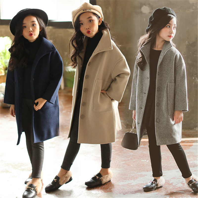 New Autumn Winter Teenage Girls Coats Baby Girls Thick Warm Woolen Overcoats Kids Single-Breasted Outwears Children Clothes P243 girls single breasted raw hem skirt