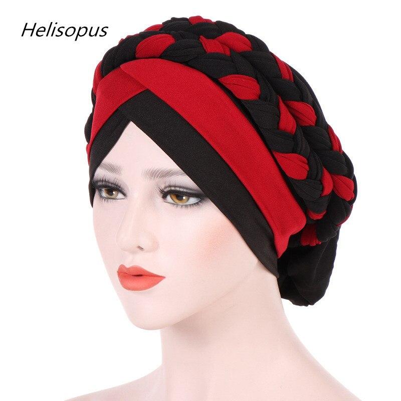 Helisopus Fashion Women Braided Bandanas Headwear Cap African Style Muslim Turban Head Scarf Hijab Hair Accessories chifres malevola png
