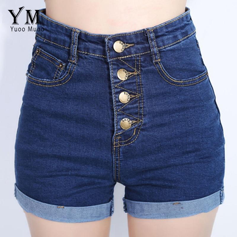 YuooMuoo 2018 Fashion 4 Buttons Retro Elastic High Waist Shorts Feminino Denim Shorts for Women Loose Plus Size Blue Jeans Short
