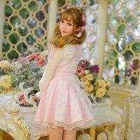 Princess sweet lolita dress Candy rain original 2016 new spring sweet temperament bow waisted Pleated Dress straps C16AB6012