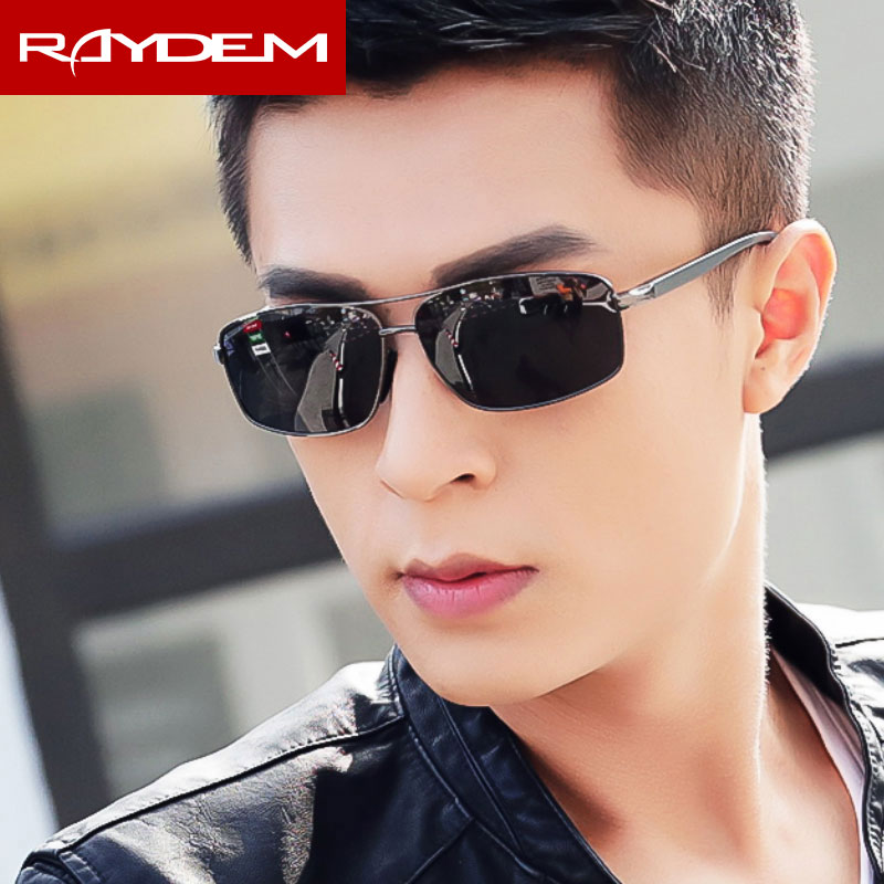 Raydem Marca Polarized Hombres gafas de sol de época Marco de aluminio Gafas de sol Goggle Gafas Accesorios para hombres 2458